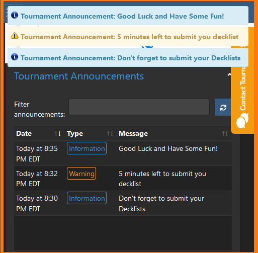 An image of tournament announcements